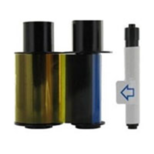 ECO YMCKO Cartridge with Cleaning Roller Full color ribbon with resin black and clear overlay panel 250 images