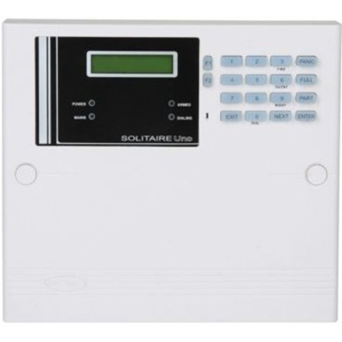 SOLITAIRE UNO 8 Zone Control Panel with onboard keypad and LCD display and inbuilt 2 Message 40 Number Speech Dialer