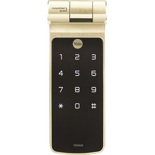 Biometric Digital Rim Lock Champagne with key override