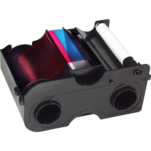 YMCKOK Cartridge w/Cleaning Roller: Full-color ribbon with two resin black panels and clear overlay panel - 200 images
