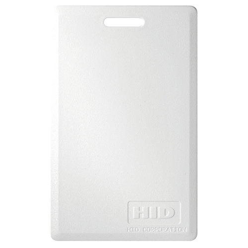 HID 34-bit Proximity Access Card. Standard HID proximity card with slot hole punch on the short side for badge clips