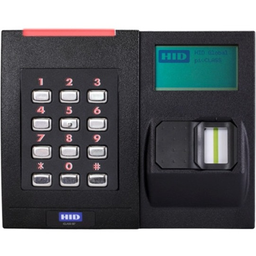 HID iCLASS SE RKLB40 Biometric/Card Reader/Keypad Access Device - Black - Door - Key Code, Magnetic Strip, Fingerprint - Wiegand