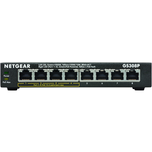 Netgear GS308P 8 Ports Ethernet Switch - 8 x Gigabit Ethernet Network - Twisted Pair - 2 Layer Supported - Desktop - 1 Year Limited Warranty