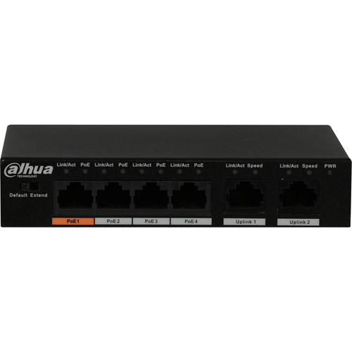 Dahua PFS3006-4ET-60 4 Ports Ethernet Switch - 2 Layer Supported - Twisted Pair - Wall Mountable