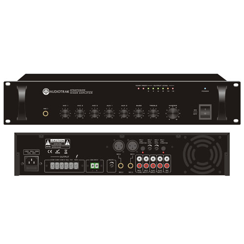 60W RMS Mixer Amplifier 3 mic 2 aux 100V 70V and 4ohms balanced mic